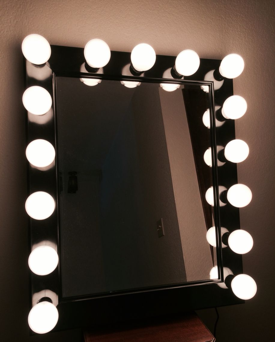 Custom vanity makeup mirror made by Billy  It has a dimmer switch to control the amount of light wanted and an outlet plug in hair tools All done