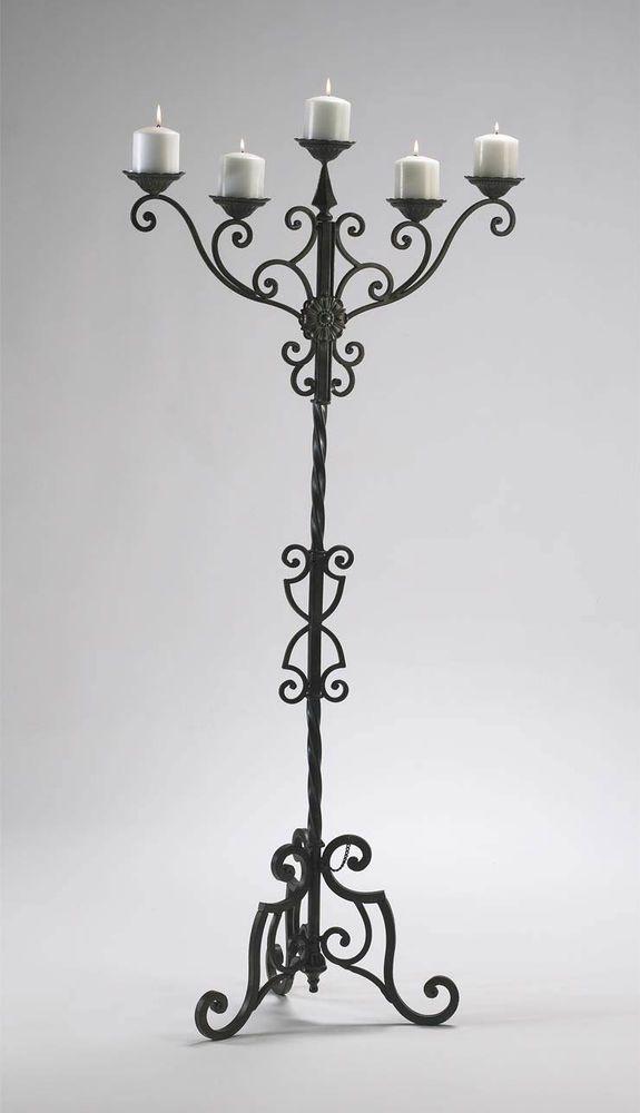 56 Tall Iron Floor Candelabra 5 Pillar Candle Holder Stand Tuscan