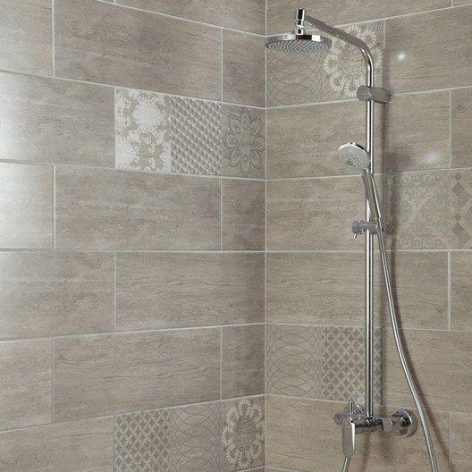 faience_mur_anthracite__sequoia_l_20_x_l_60_cm salle de bain - Leroy Merlin Faience Cuisine