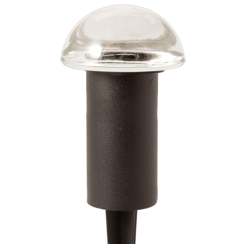 Hampton Bay Low Voltage 10 Watt Black Halogen Bollard Landscape Wiring Mushroom Light Hd28612bk The Home Depot