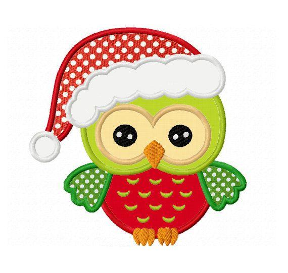 Christmas owl applique machine embroidery von