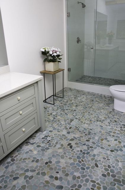 Country Style Bathroom With Pebble Tile Floor Google Search