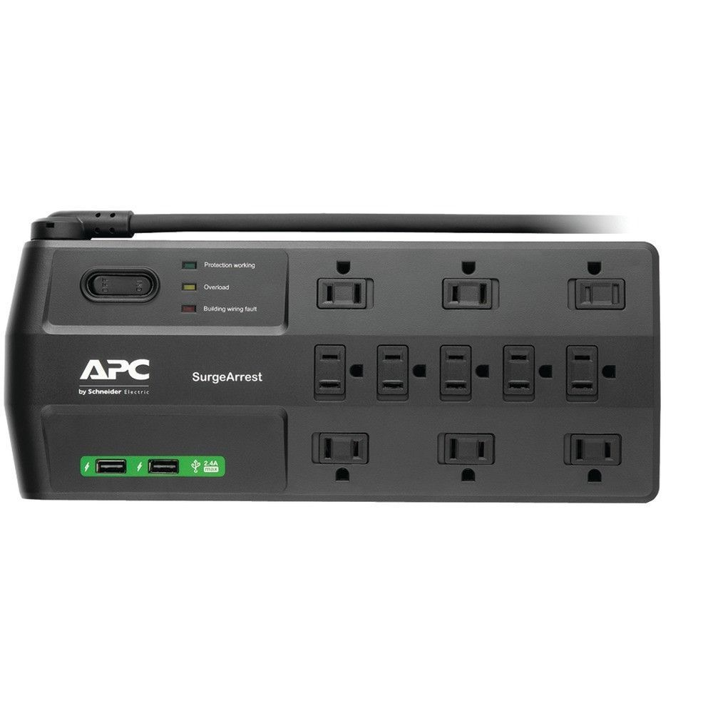 Apc P11u2 11 Outlet Surgearrest R Surge Protector With 2 Usb Charging Ports 11 Outlets 2 880 Joules 120v Data Line Pro Surge Protector Usb Charging Apc