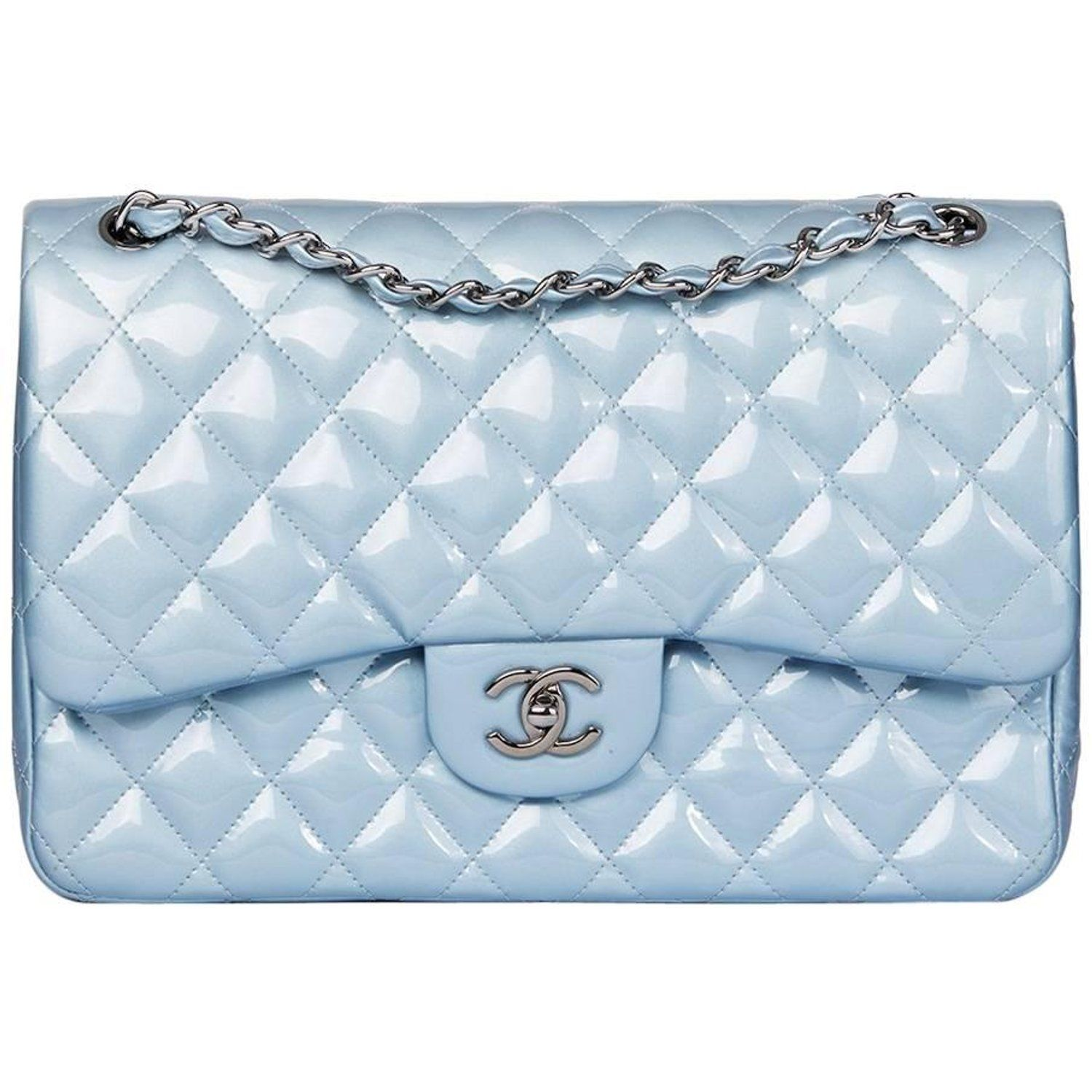 5709fc2c5fd8 Chanel Sky Blue Quilted Iridescent Patent Leather Jumbo Classic Double Flap  Bag at 1stdibs