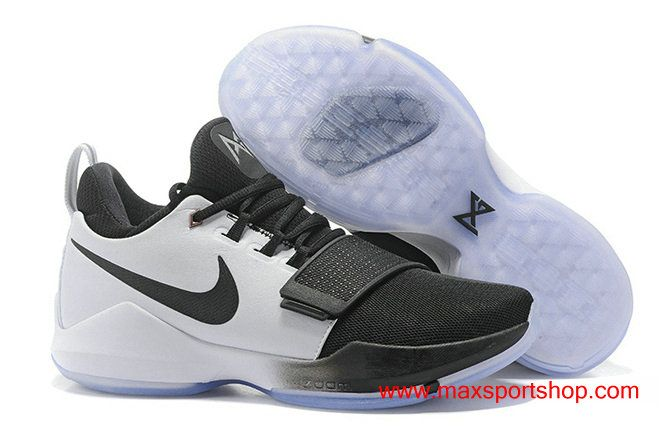 07383227128 Men s Nike PG 1 id White and Black Basketball Shoes