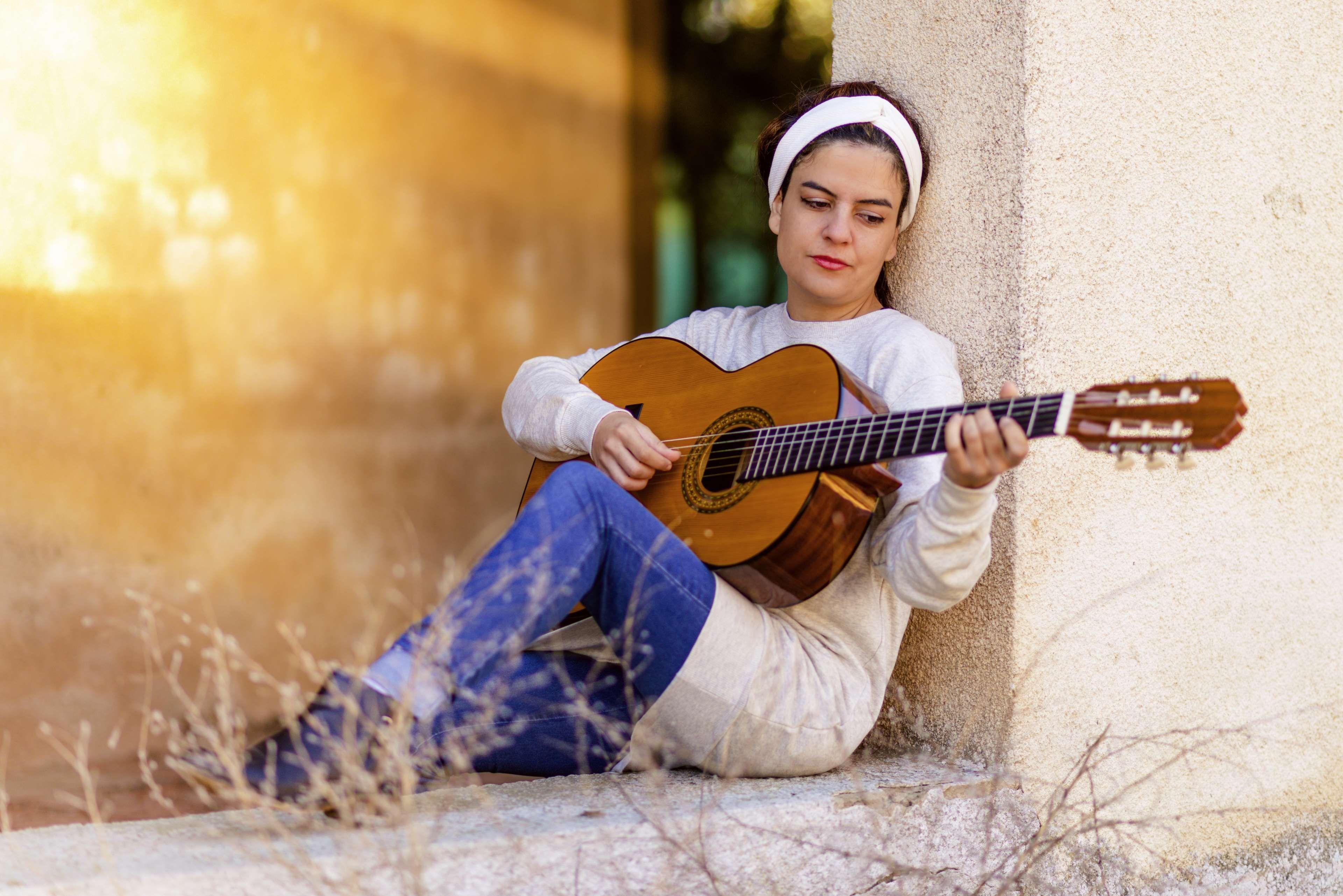adult #beautiful #fun #girl #grass #guitar #guitarist #instrument ...