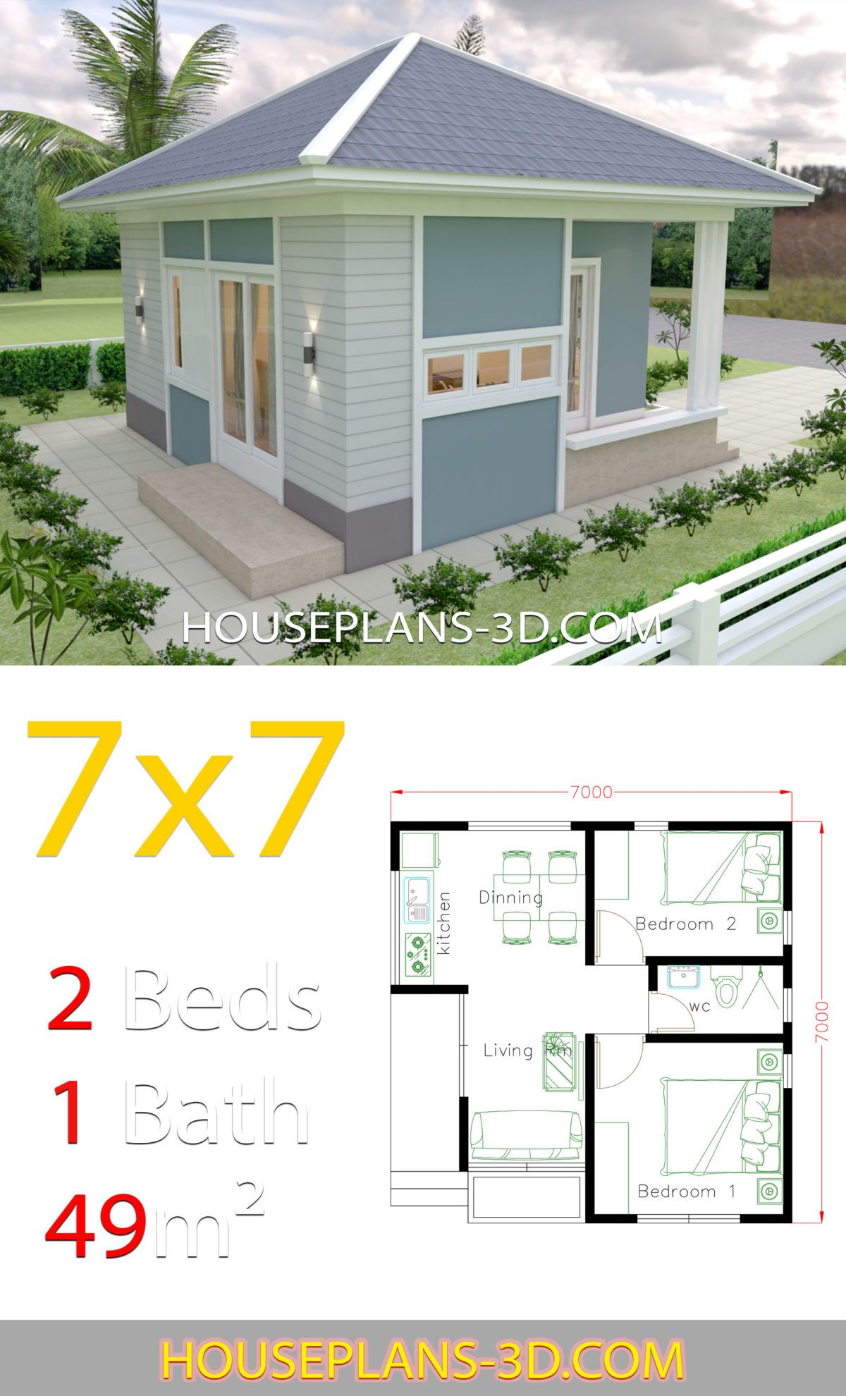 House Design Plans 7x7 With 2 Bedrooms House Plans 3d In 2020 House Plans House Design Small House Design Plans