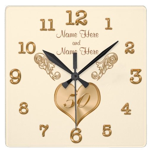 elegant 50th wedding anniversary clock with names zazzle. Black Bedroom Furniture Sets. Home Design Ideas