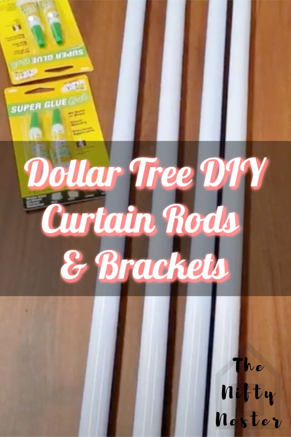 I made these DIY Dollar Tree curtain rods for my bonus daughter's dorm room makeover. I needed a cheap option for these over sized windows that would be dorm room and renter friendly. These are a no-drill option that is easy to make and easy to remove. This DIY Dollar Tree decor project only cost me $4 per window, and they are over 90