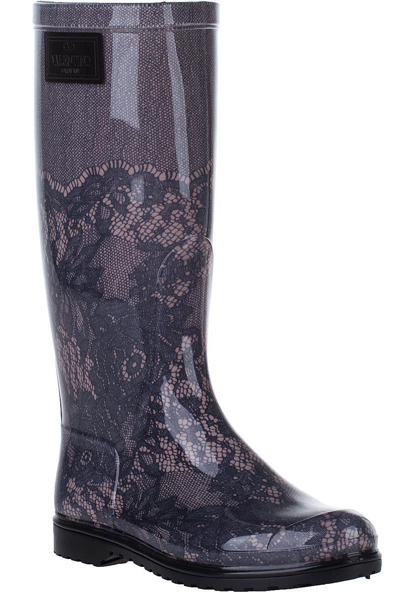Valentino - Lace Print Rain Boot