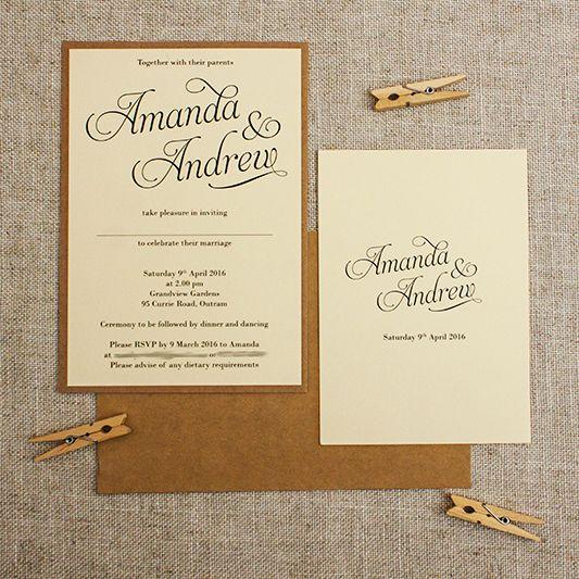 Kraft Cream Rustic Wedding Invitations