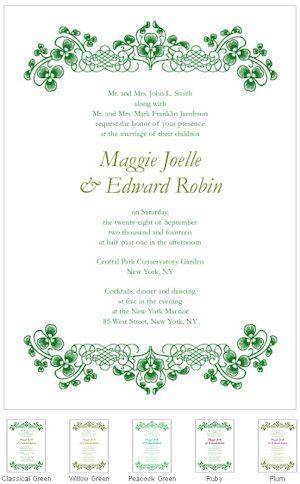 luck of the irish wedding invitations set of 4 in 2018 irish