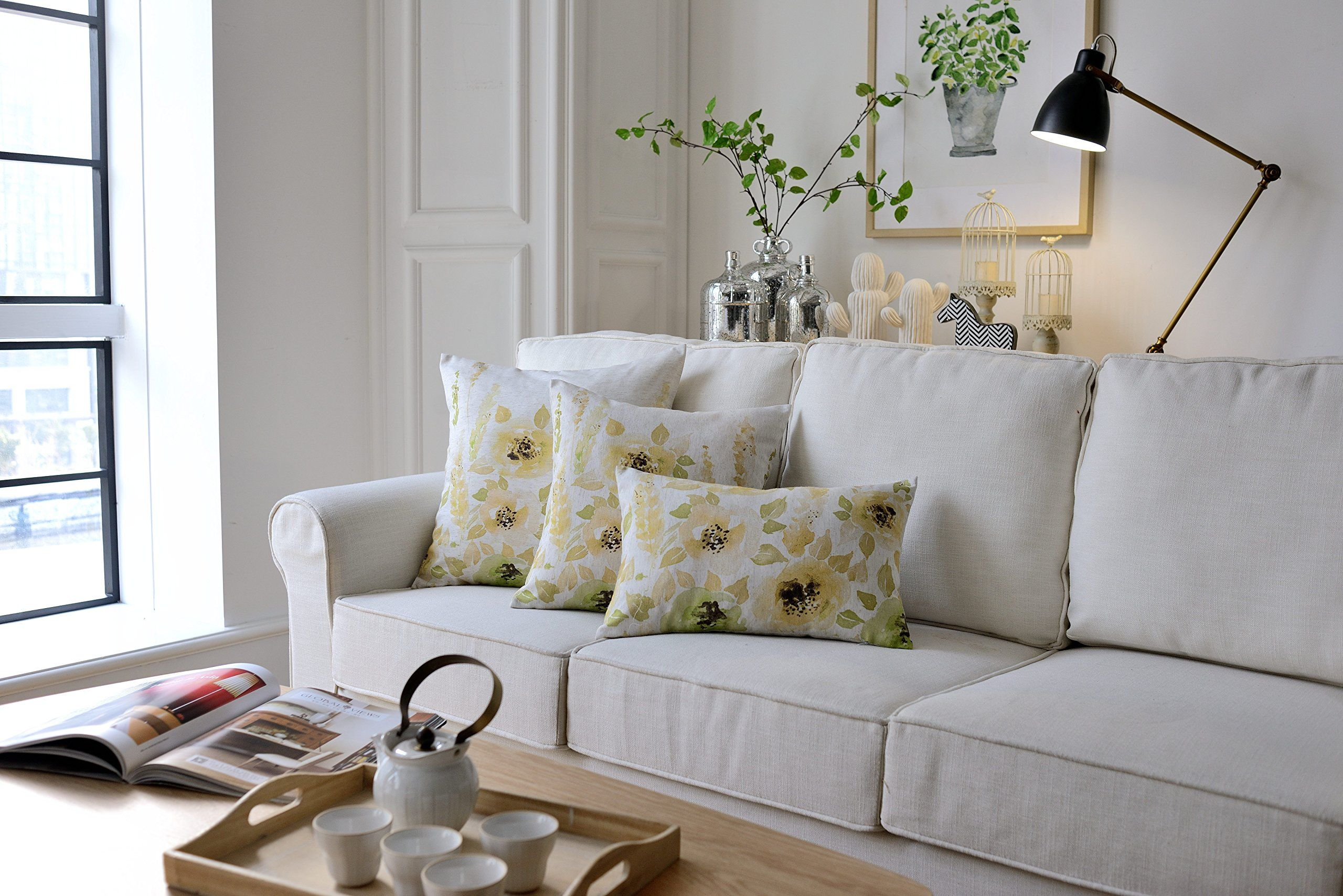Remarkable Mysky Home Set Of 3 Floral Design Print Cushion Covers Sofa Pabps2019 Chair Design Images Pabps2019Com