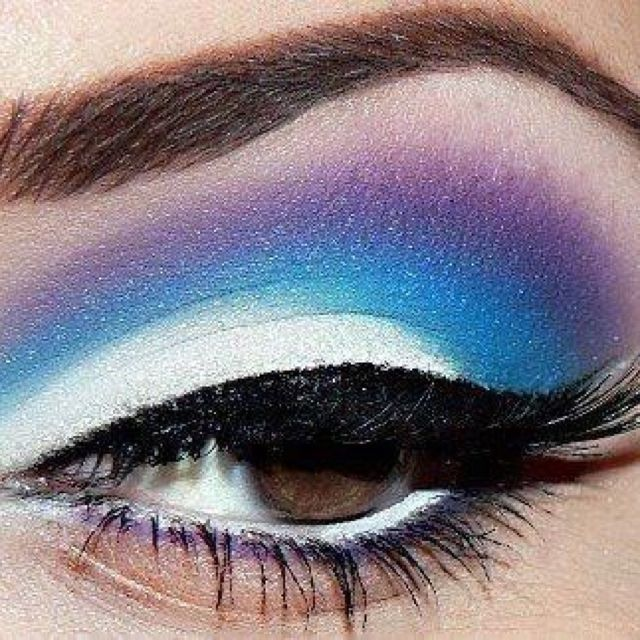 Blue and purple eye make up