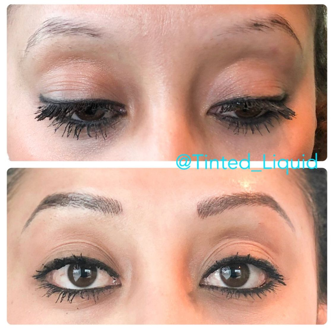 Before and after combination of microblading strokes and