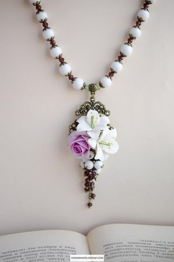 White Lily Necklace Purple Rose Jewelry Clay Flower Pendant White