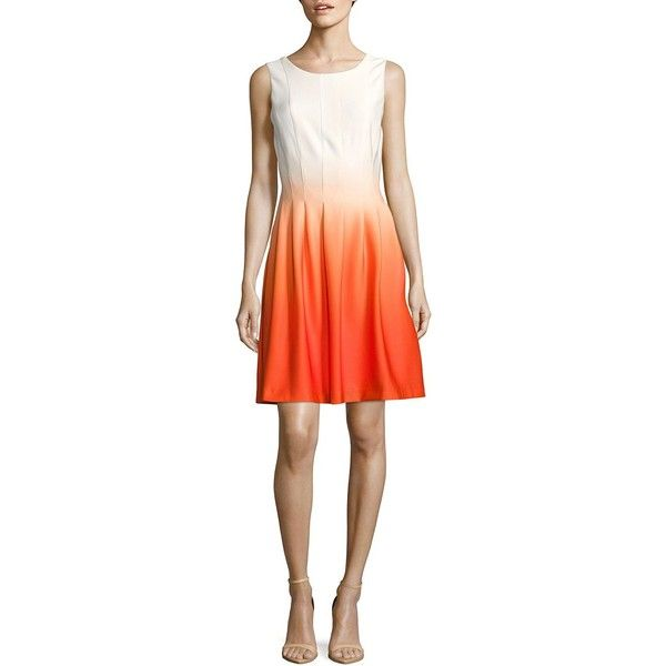 Calvin Klein Fit-&-Flare Ombre Dress ($70) ❤ liked on Polyvore featuring dresses, sleeveless dress, back zipper dress, calvin klein, calvin klein dresses and no sleeve dress
