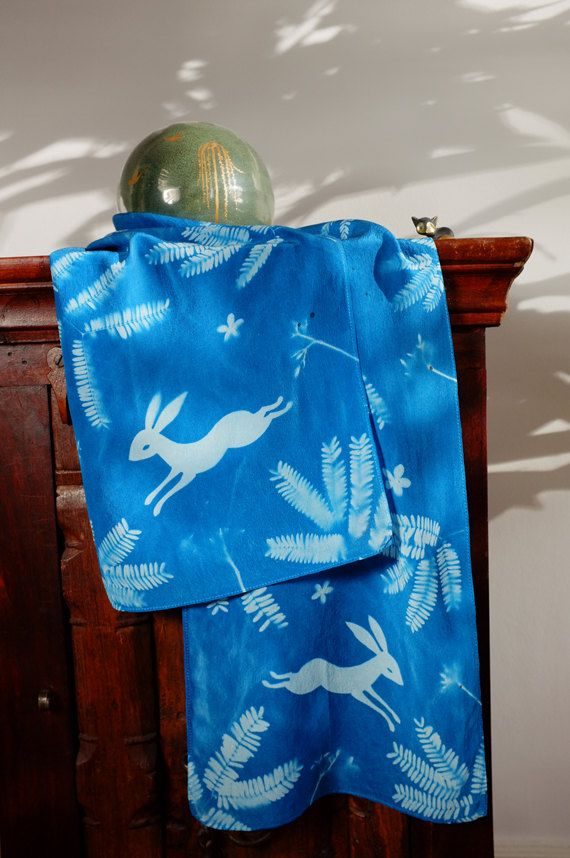 One Of A Kind Hand Printed Cyanotype Silk Scarf This Original Has Been Made Using The Sun Printing Process On