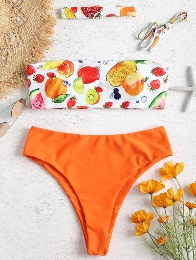 Fruit Print Bandeau High Leg Bikini