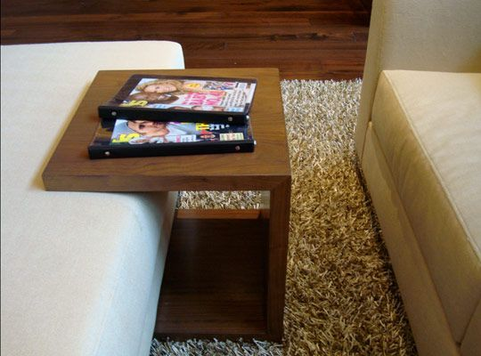 turn a cushioned ottoman into a table