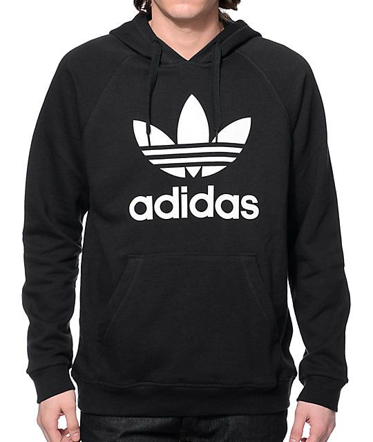 It doesn't get much more classic than the iconic look of the adidas  Original Trefoil hoodie. Look your best in this black pullover hoodie that  features an ...