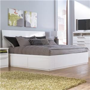Jansey Metro Modern White King Bed With Side Storage Unit By Ashley Millennium At Becker Furniture World