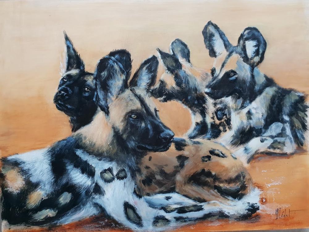 Lycaons Au Repos Marie Joelle Cedat Peintures Animalieres Faune Animalier