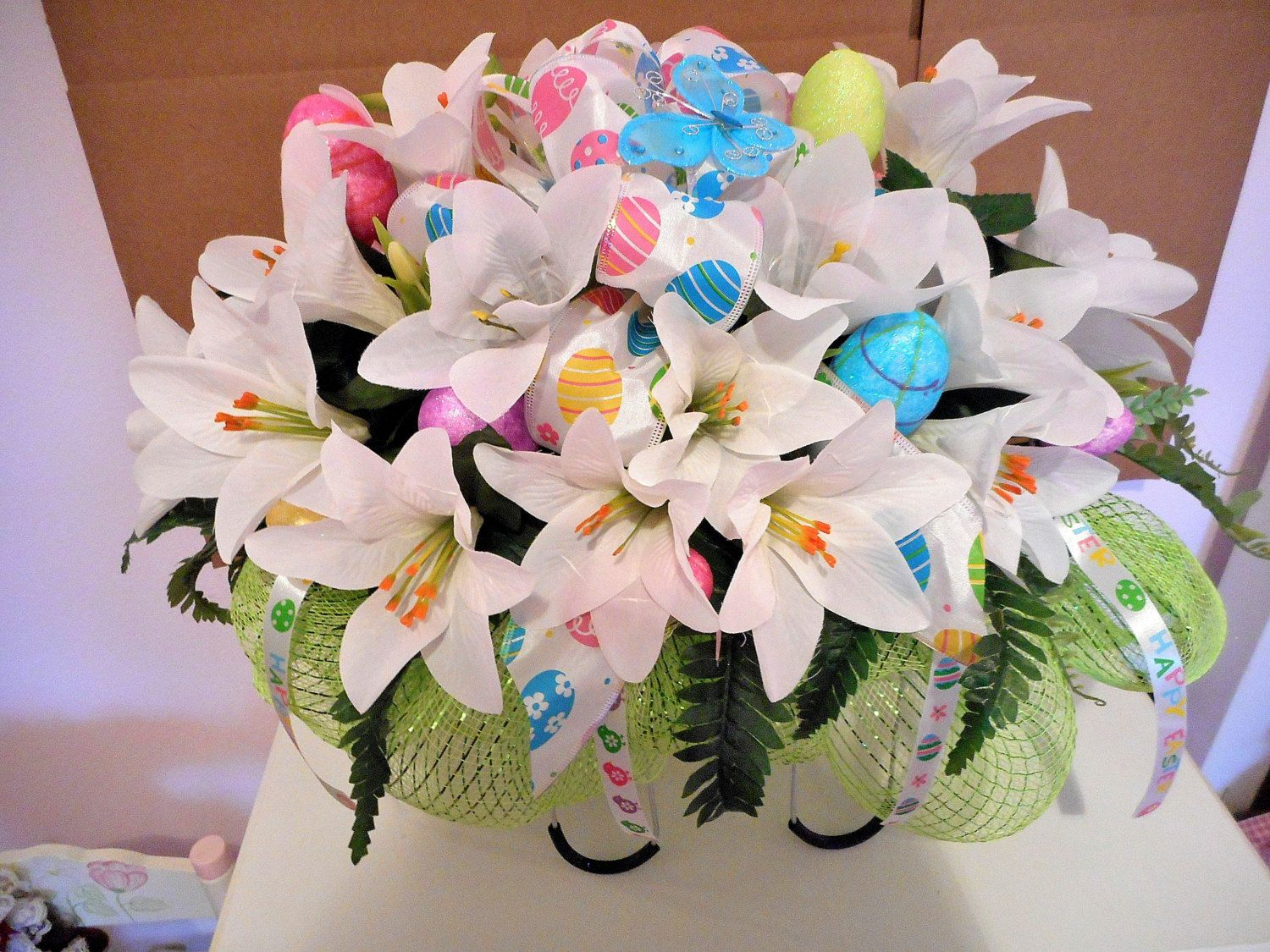 Easter Lily Cemetery Silk Flower Arrangement Headstone Saddle
