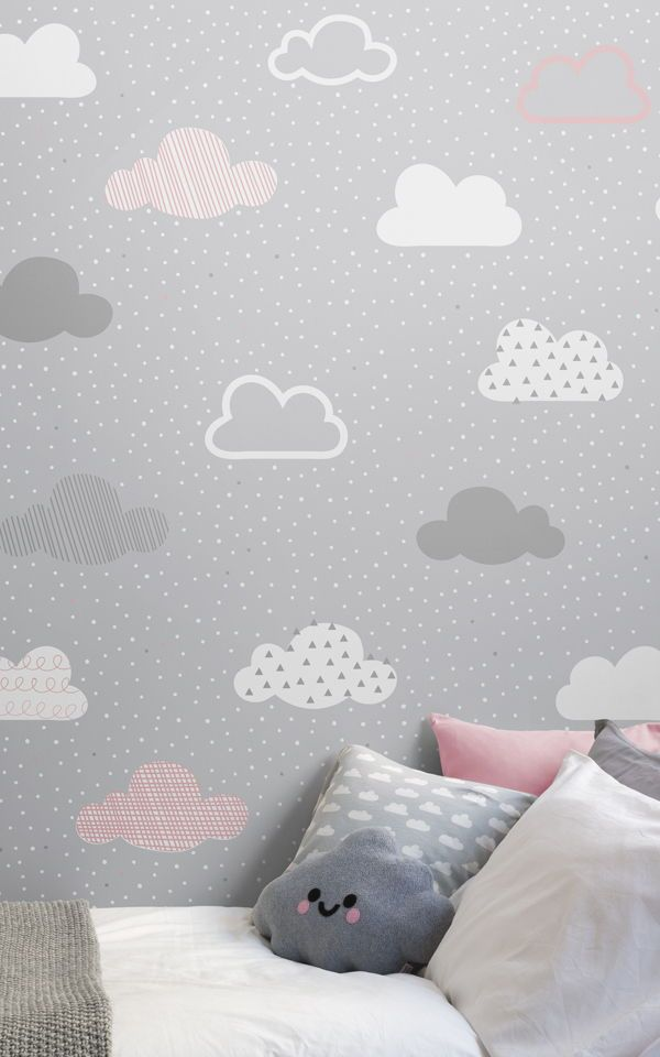 Rosa Und Graue Wolken Muster Bemalte Tapete | Schlafzimmer Ideen |  Pinterest | Gray Wallpaper, Pink Accents And Wallpaper Murals