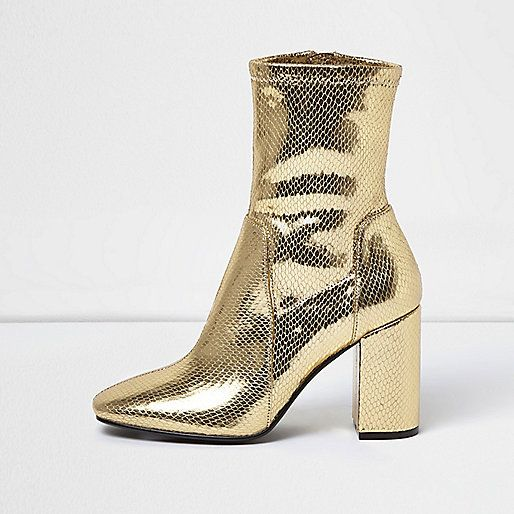 Gold sock boot with block heel - boots - shoes / boots - women | F ...