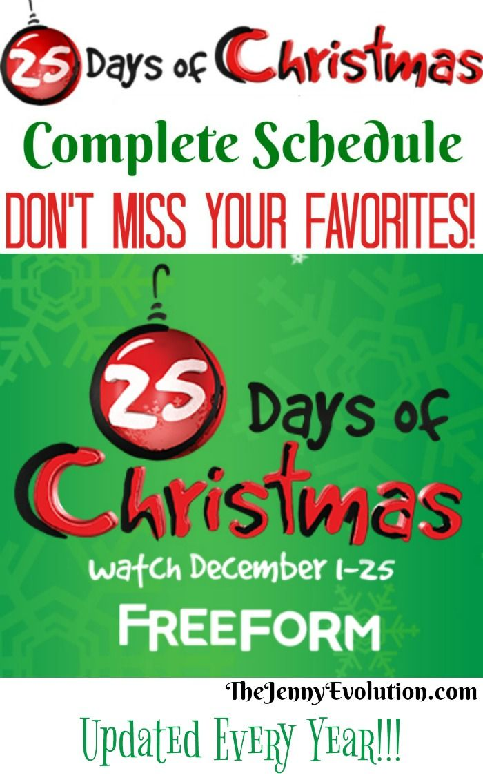 25 Days Of Christmas Movies Free Printable Schedule Highlights