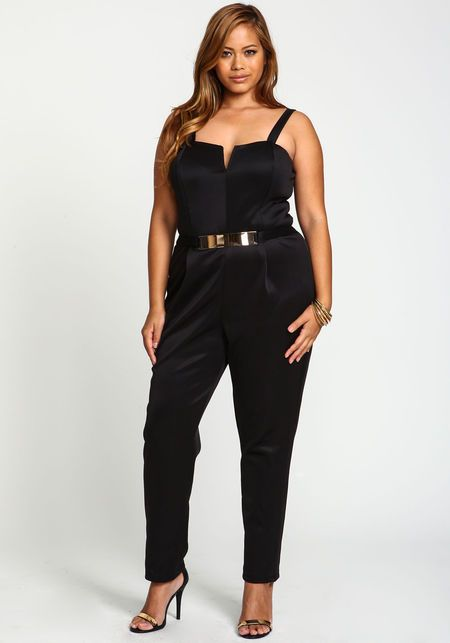 Plus Size Gold Plate Jumpsuit, BLACK. Hot Cruise club wear ...