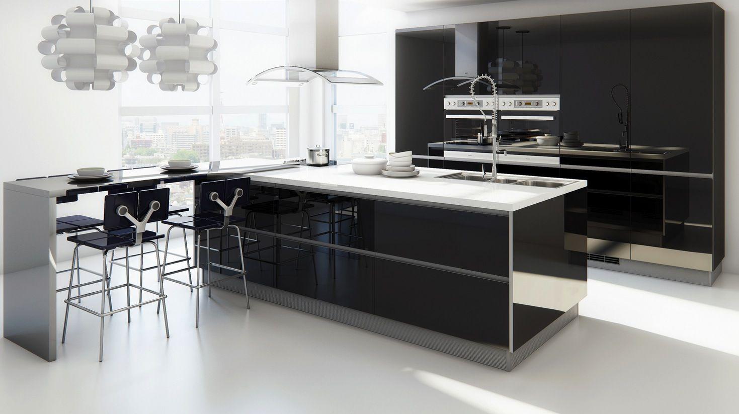 isla moderna negra | Cocinas con Isla | Pinterest | Moderno, Cocina ...