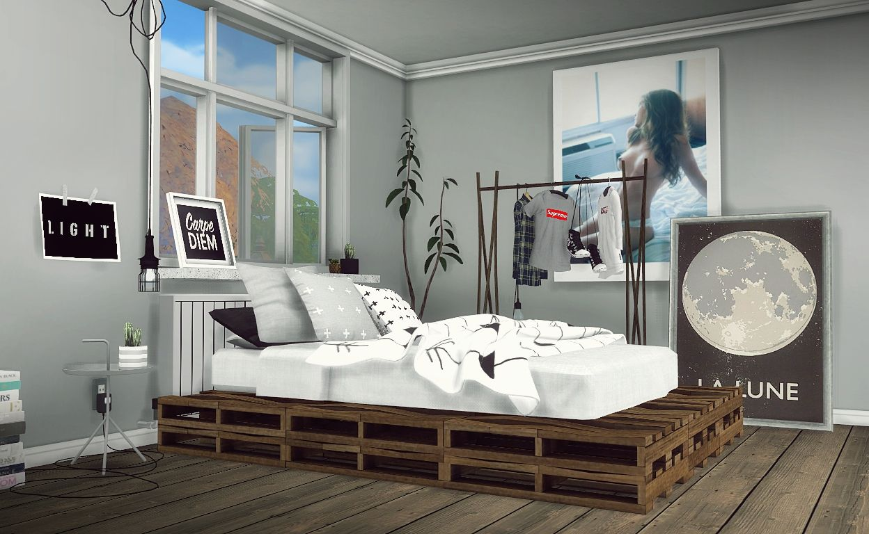 Sims Bedroom Mxims Diy Rustic Pallet Bed Part 1 Furnitures Bedroom Sims4