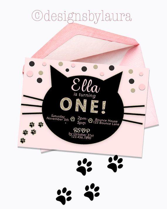 Cat Invitation Birthday Invite Pink By DesignsbyLauraonEtsy