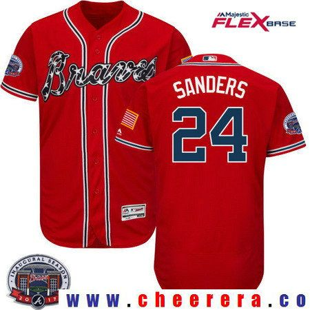 2af100aa53f Men s Atlanta Braves  24 Deion Sanders Retired Red 2017 Inaugural Season  Patch Stitched MLB Majestic Flex Base Jersey