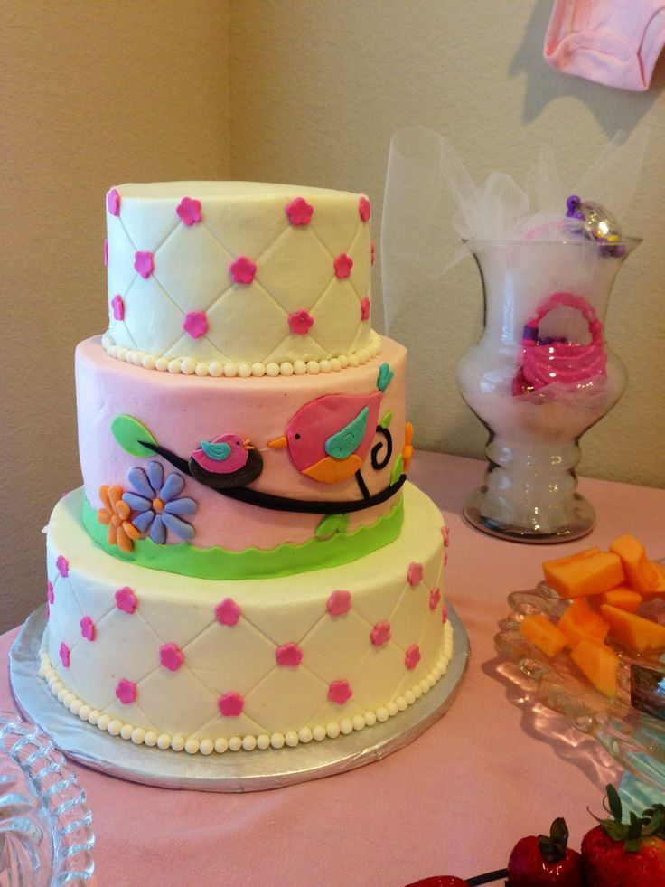 baby shower cakes with birds Bird baby shower cake Beautiful