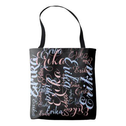 Personalized Handwritten Names On Black Tote Bag Diy Individual Customized Design Unique Ideas