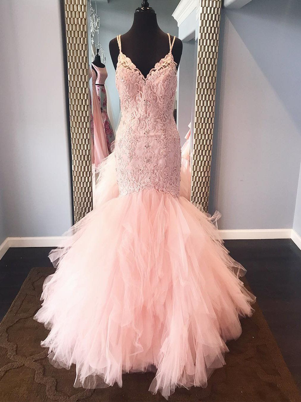 a1407170cca Spaghetti Strap Lace Beaded Mermaid Pink Prom Dresses Long ...