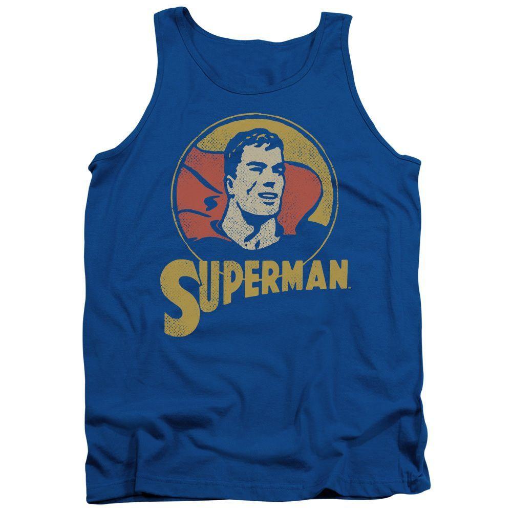 Superman Super Circle Royal Blue 100% Cotton Tank-Top T-Shirt