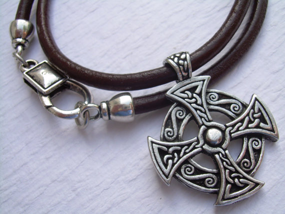 Cross necklace celtic cross leather necklace mens necklace celtic cross leather necklace celtic pendant mens by malibucreek 1999 aloadofball Image collections