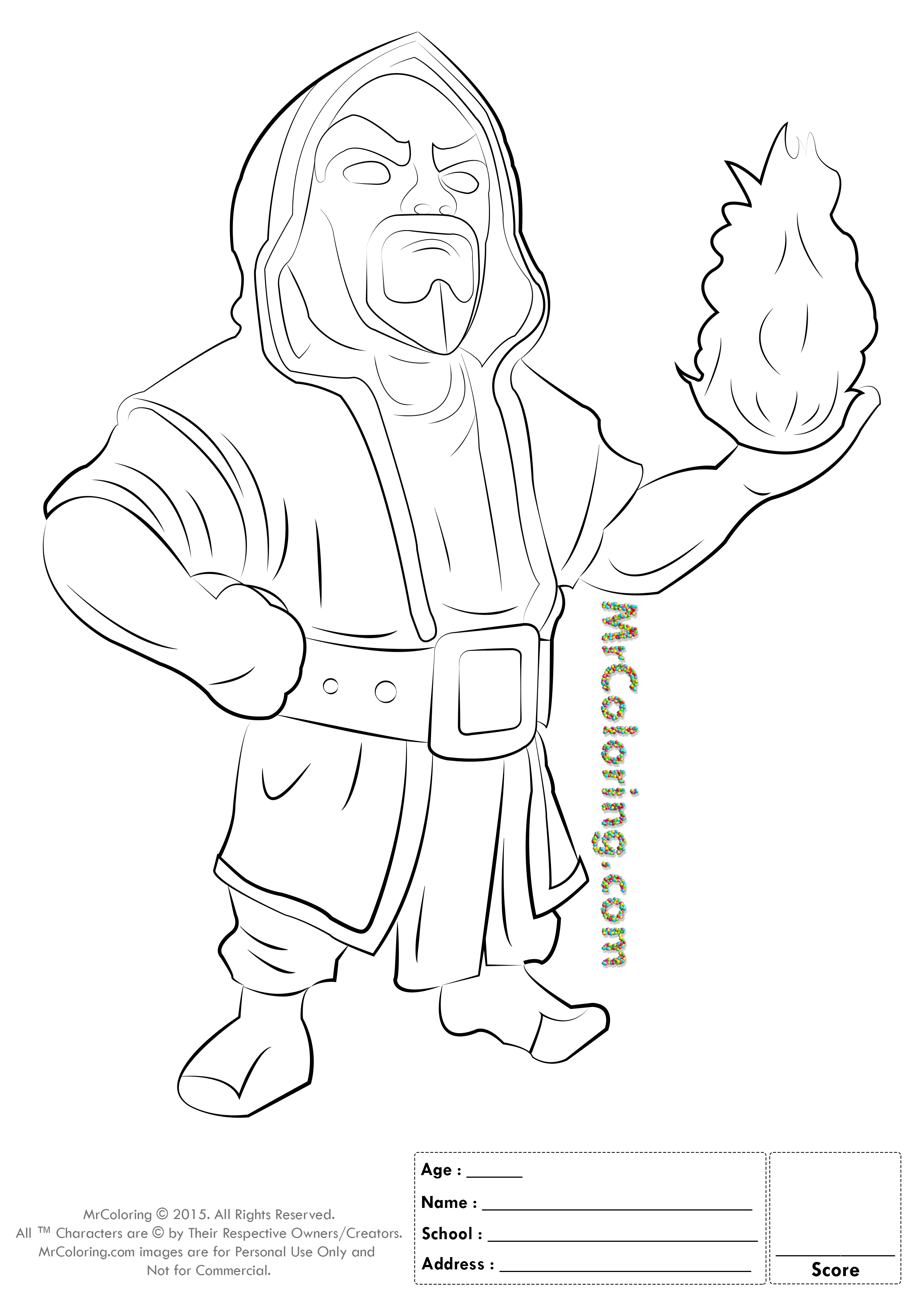 Free Printable Clash of Clans Wizard Coloring Pages - 1 | Mariela ...