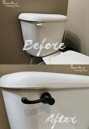 How to Upgrade Toilet Flush Levers - A simple but effective DIY upgrade that packs a big punch. Find it at Queen Bee of Honey Dos!