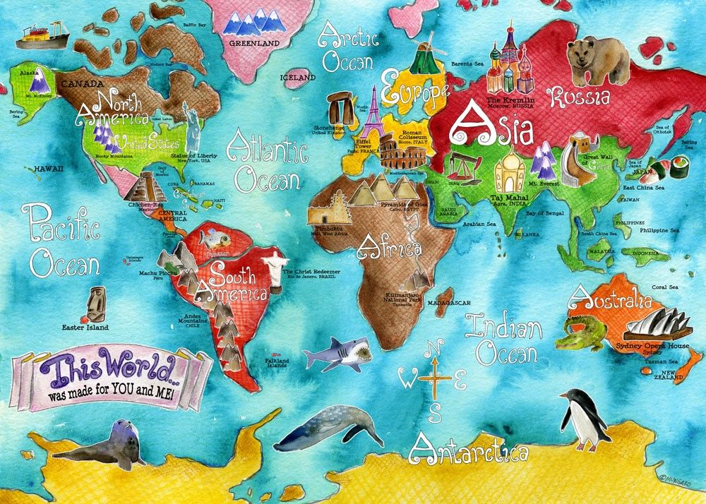 Huge this world turquoise watercolor art map poster for children huge this world turquoise watercolor art map poster for children by marley ungaro 5500 sciox Images