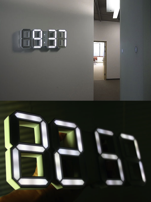 Awesome White & White LED Clock by Vadim Kibardin