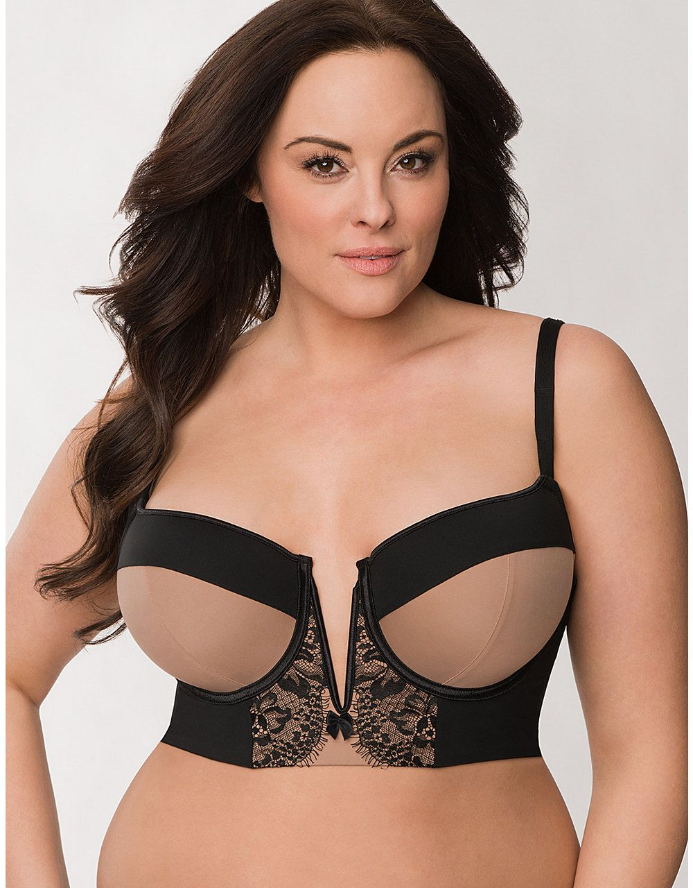 da2cd683d8 Plus Size Lace Long Line Demi Bra by Cacique