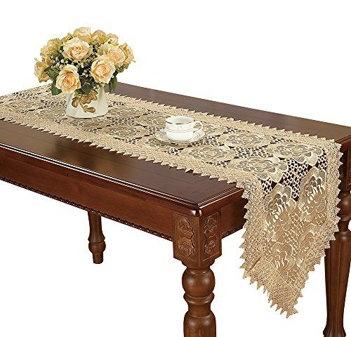 Beige Lace Table Runner And Dresser Scarf Embroidered Rose Flower 16 By 72 Inch Long Find Out More About Lace Table Runners Lace Table Vintage Table Runner