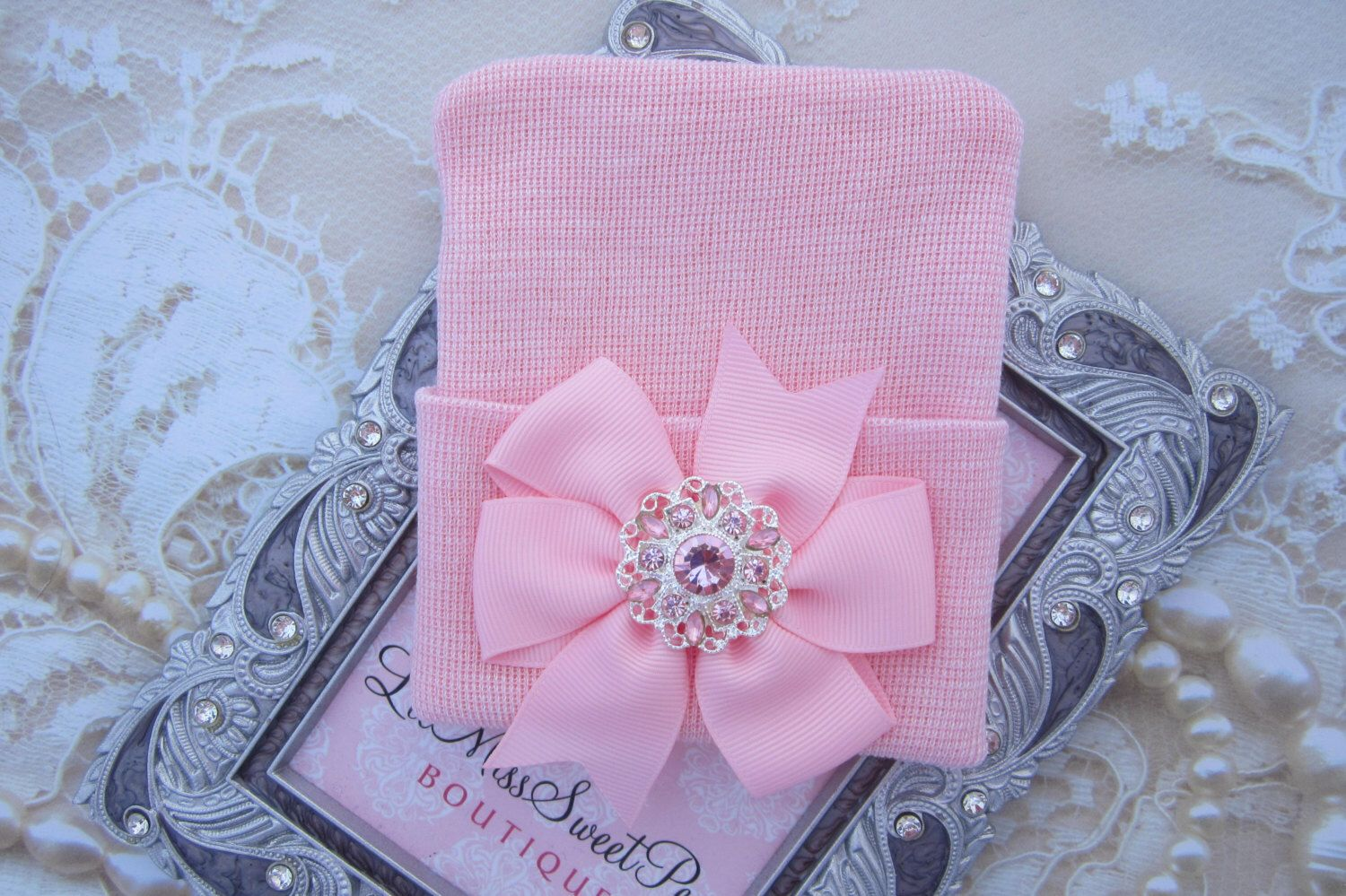 A personal favorite from my Etsy shop https://www.etsy.com/listing/500057211/pink-newborn-hospital-hat-with-a-pink