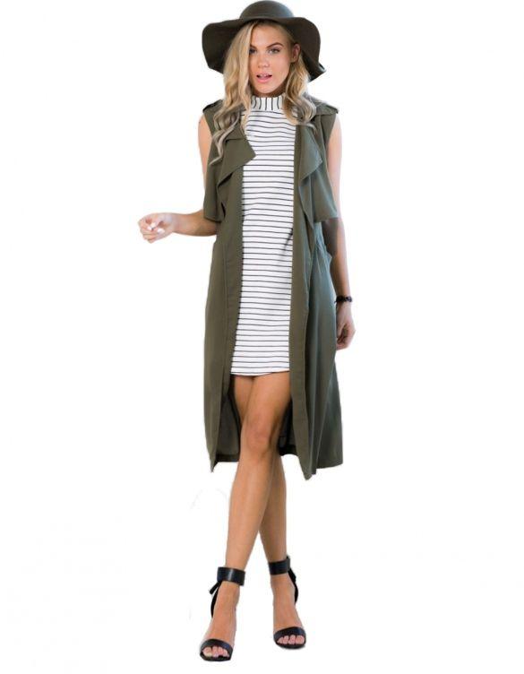 912476b470 Stylish Ladies Women Casual Green Cardigan Long Vest Jacket Outwear ...