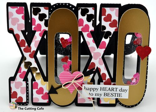 xoxo shaped shaker card - Shaker Cafe Ideas
